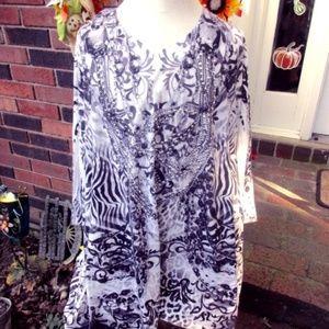nwot unity womens plus printed blouse sz 1x